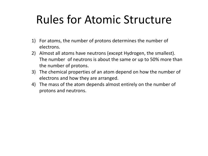 Rules for Atomic Structure