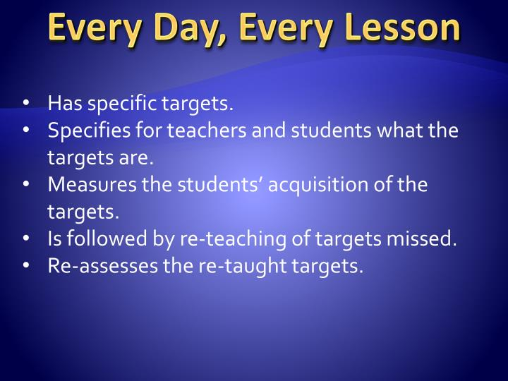 Every Day, Every Lesson
