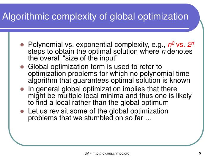 Algorithmic complexity of global optimization
