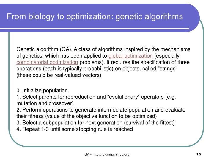 From biology to optimization: genetic algorithms