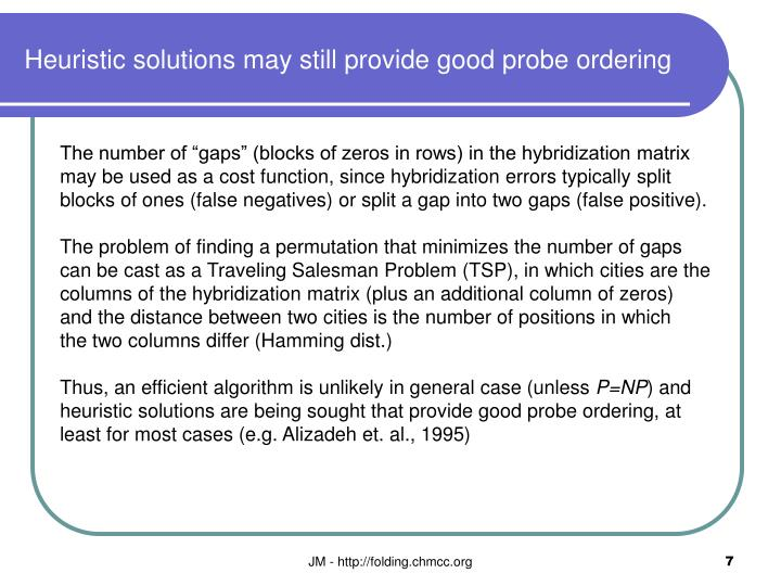 Heuristic solutions may still provide good probe ordering