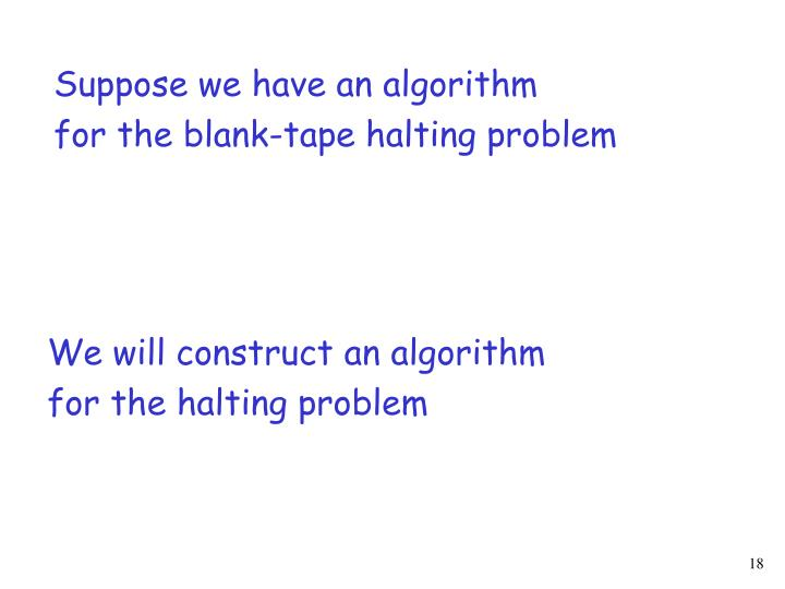 Suppose we have an algorithm