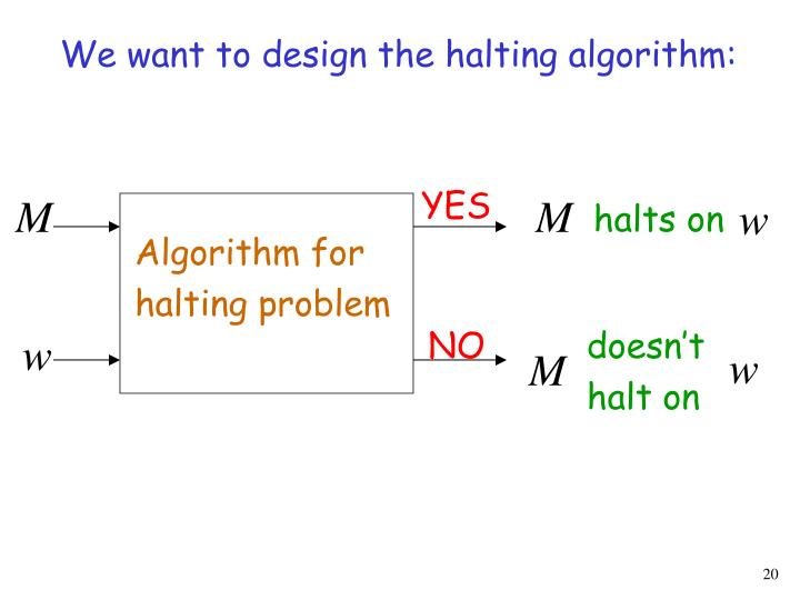 We want to design the halting algorithm: