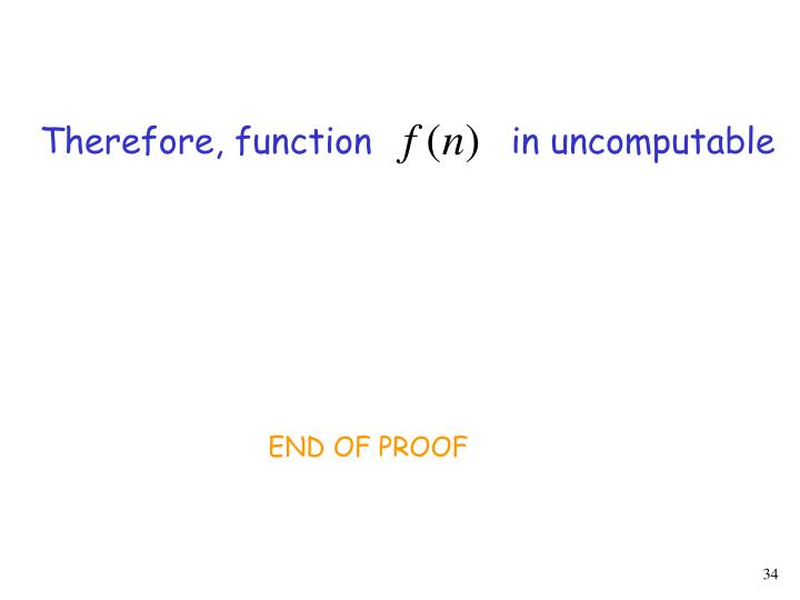 Therefore, function             in uncomputable