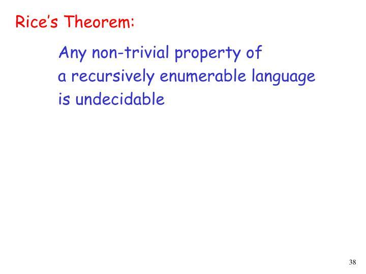 Rice's Theorem: