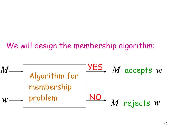 We will design the membership algorithm: