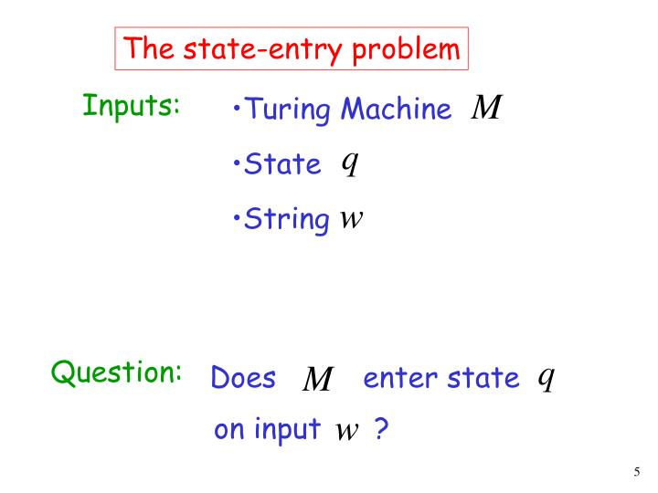 The state-entry problem