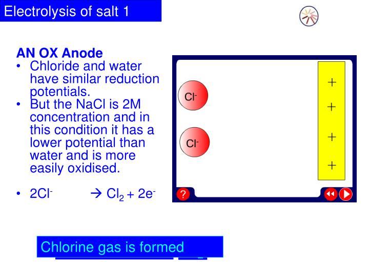 Electrolysis of salt 1