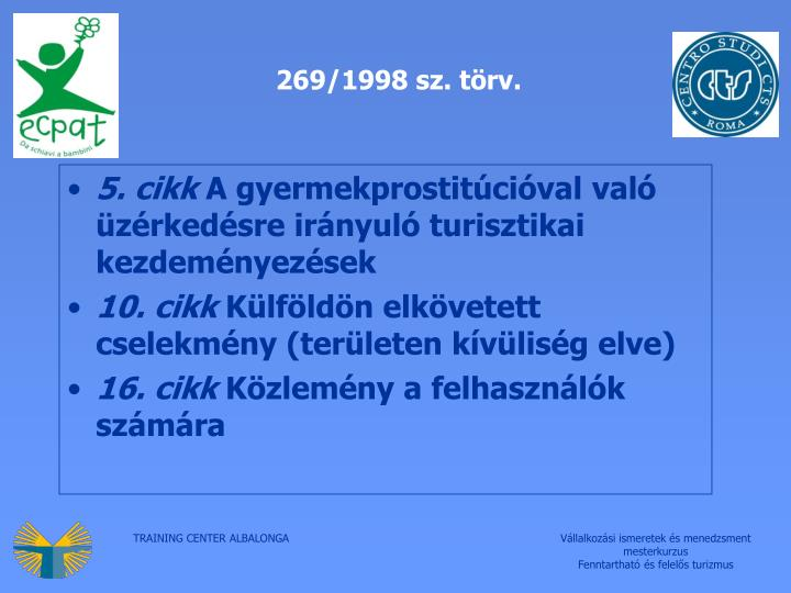 269/1998 sz. törv.