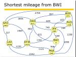 shortest mileage from bwi10