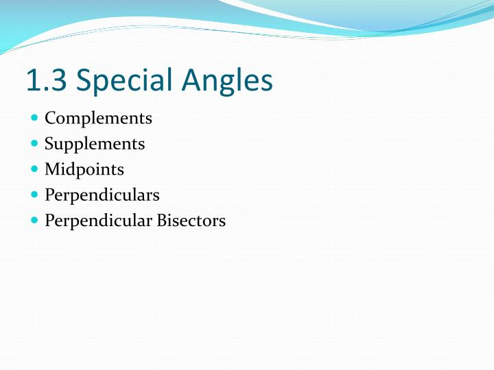 1.3 Special Angles