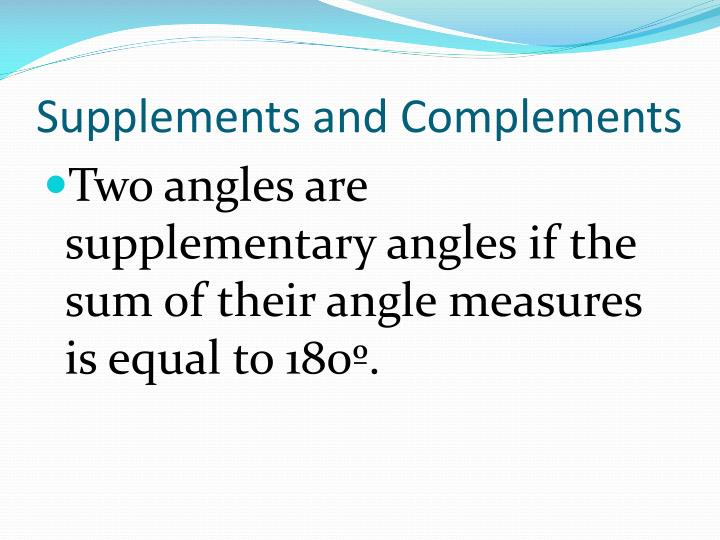 Supplements and Complements