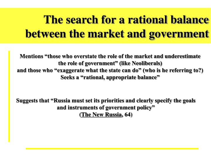 The search for a rational balance