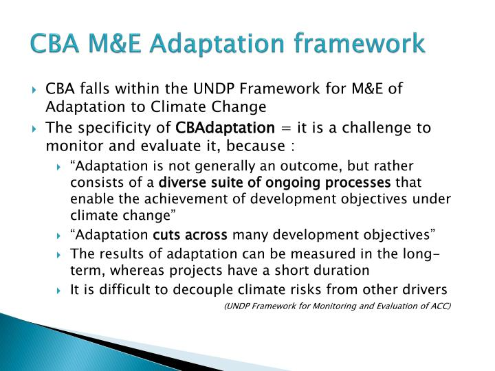 CBA M&E Adaptation framework