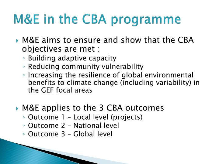 M&E in the CBA programme