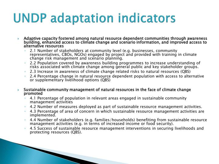 UNDP adaptation indicators