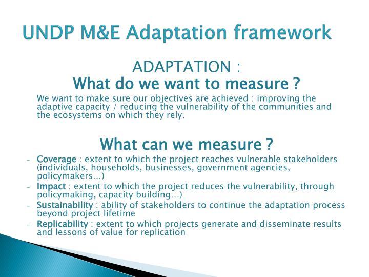 UNDP M&E Adaptation framework