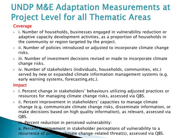 UNDP M&E Adaptation Measurements at Project Level for all Thematic Areas