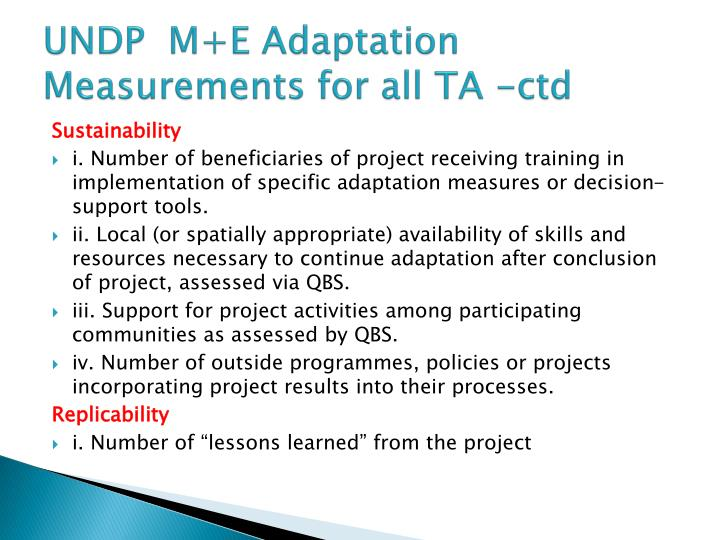 UNDP  M+E Adaptation Measurements for all TA -