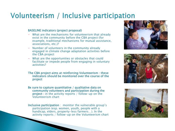 Volunteerism / Inclusive participation