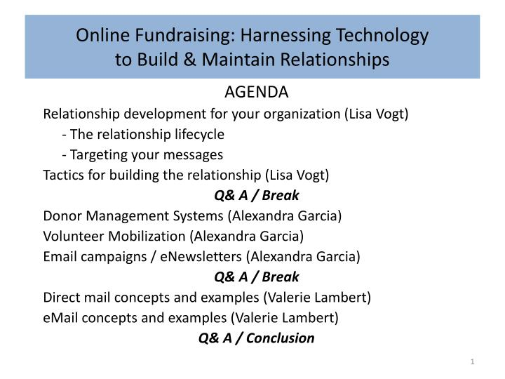 Online fundraising harnessing technology to build maintain relationships