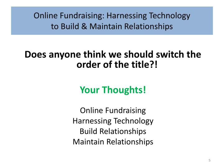 Online Fundraising: Harnessing Technology