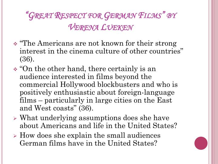 """Great Respect for German Films"" by"