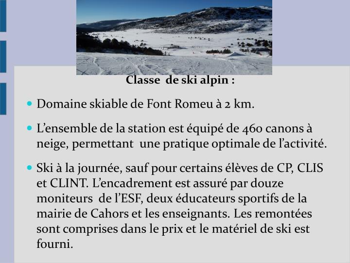 Classe  de ski alpin :