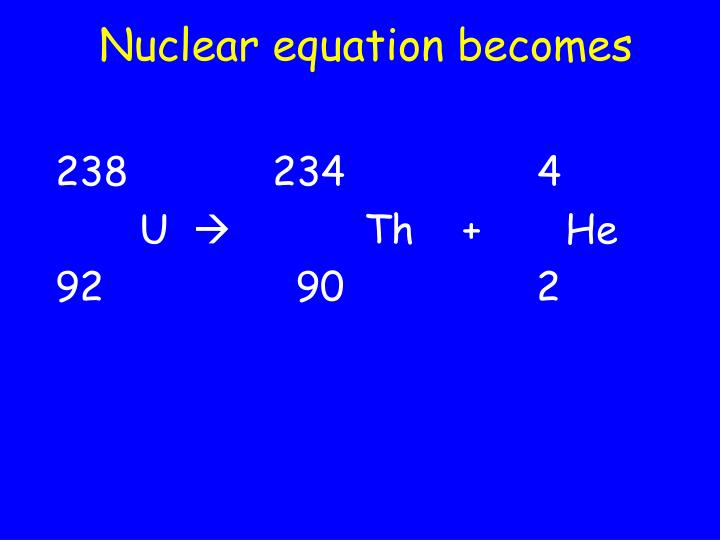 Nuclear equation becomes