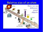 relative size of an atom