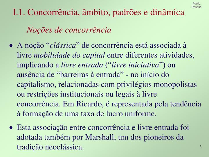 I.1. Concorrência, âmbito, padrões e dinâmica
