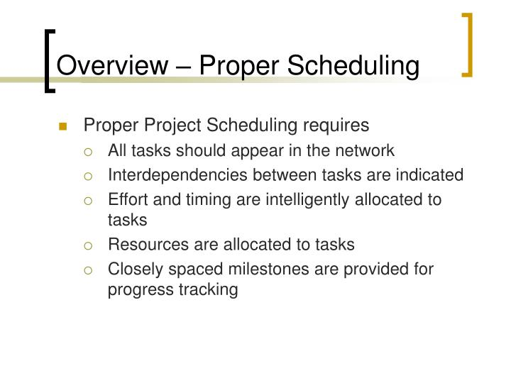 Overview – Proper Scheduling