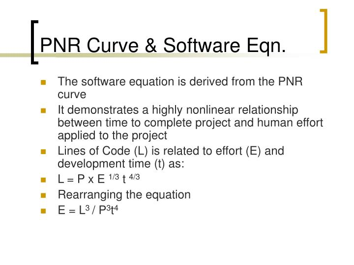 PNR Curve & Software Eqn.