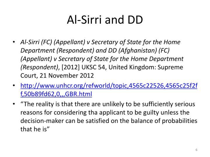 Al-Sirri and DD