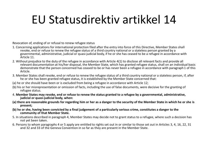 EU Statusdirektiv artikkel 14