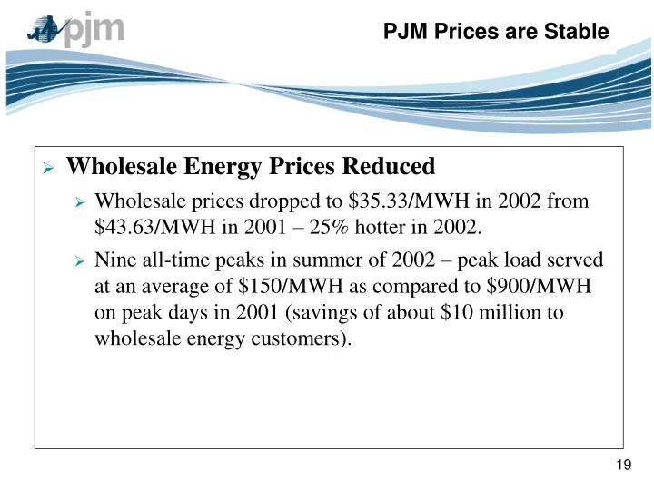 Wholesale Energy Prices Reduced