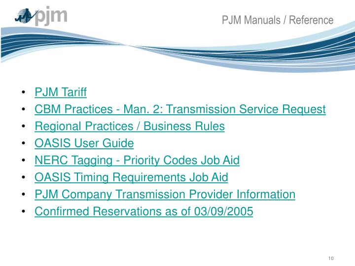 PJM Manuals / Reference