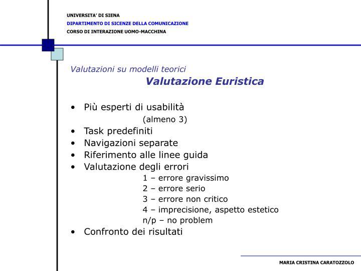 Valutazioni su modelli teorici