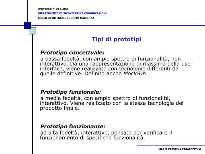 Tipi di prototipi
