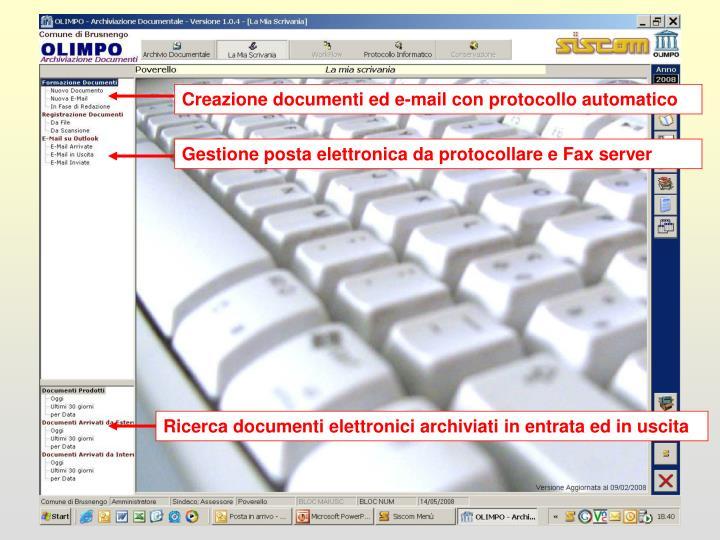 Creazione documenti ed e-mail con protocollo automatico