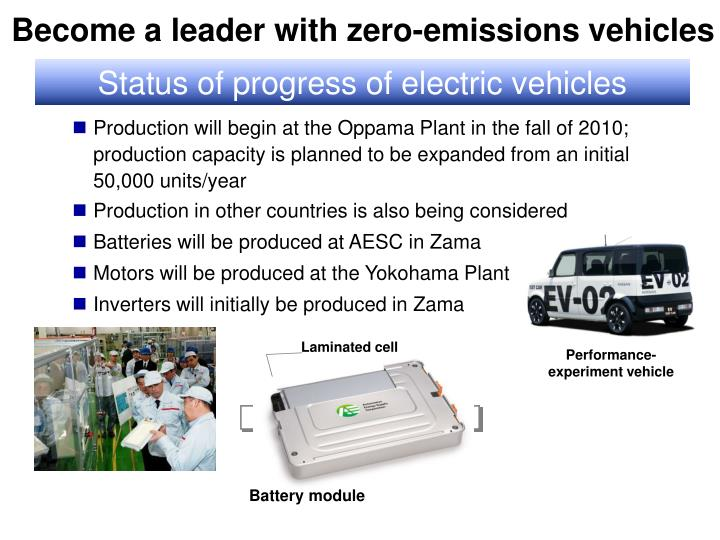 Become a leader with zero-emissions vehicles
