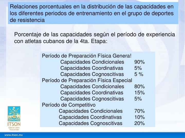 Relaciones porcentuales en la distribución de las capacidades en los diferentes periodos de entrenamiento en el grupo de deportes de resistencia