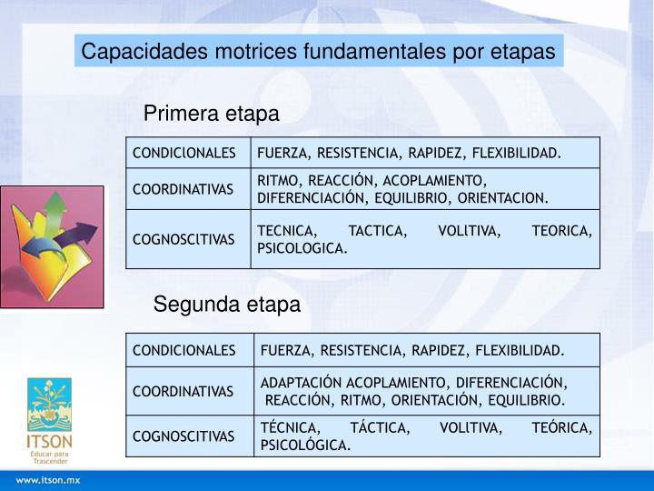Capacidades motrices fundamentales por etapas
