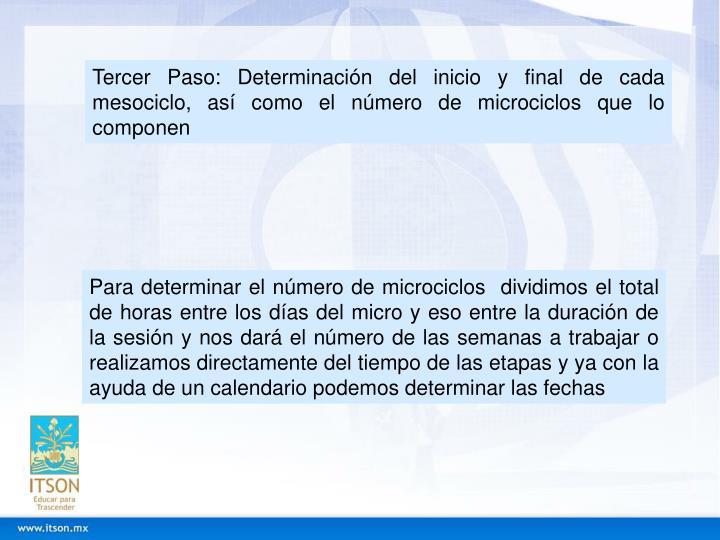 Tercer Paso: Determinación del inicio y final de cada mesociclo, así como el número de microciclos que lo componen