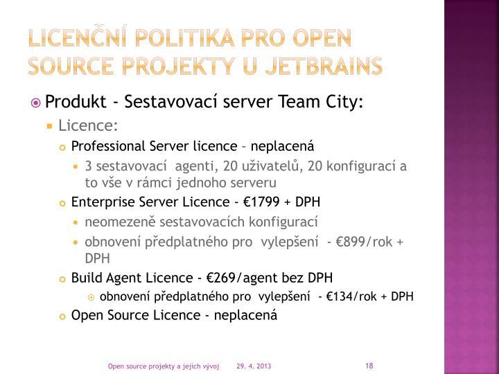 licenční politika pro open source projekty u JETBRAINS