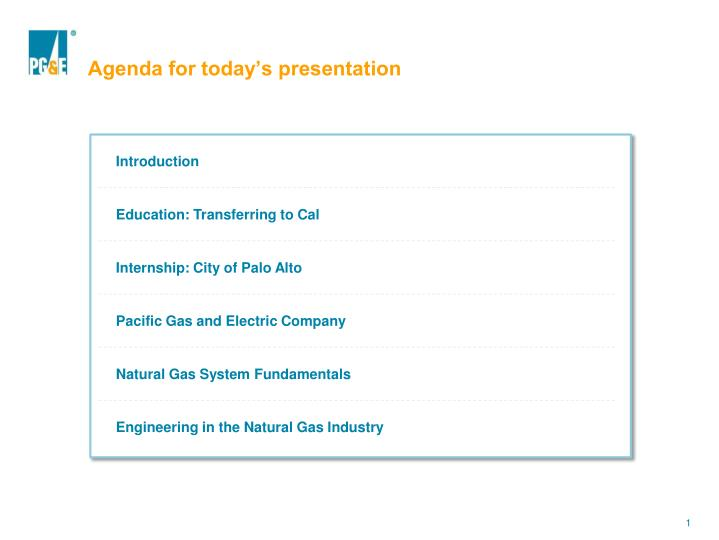 Agenda for today s presentation