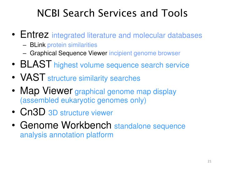 NCBI Search Services and Tools