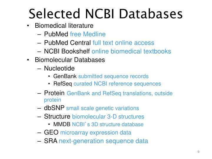 Selected NCBI Databases