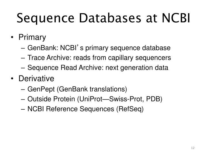 Sequence Databases at NCBI