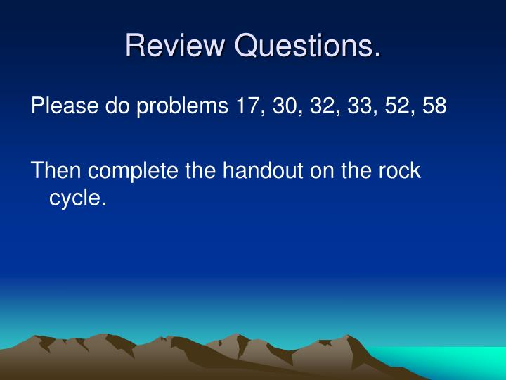 Review Questions.